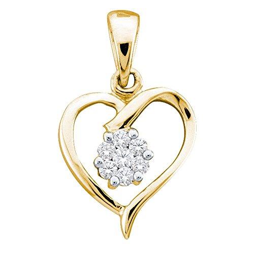10kt Yellow Gold Womens Round Diamond Flower Cluster Heart Pendant 1/12 Cttw