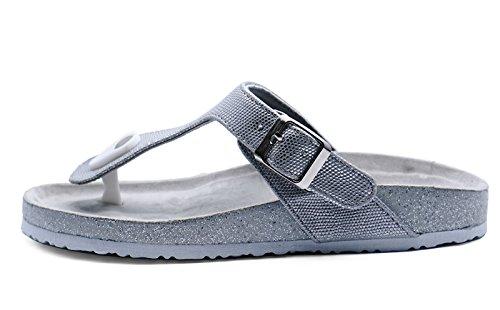 HeelzSoHigh Damen Flach Silber Zehensteg Sommer Sandalen Flip Flop Holiday Wandern Slipper Größen 3-8
