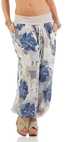 ZARMEXX Pantalones bombachos señoras harén pantalones de harén de estilo de la flor de impresión de verano pantalones casuales Yoga Harem Beige