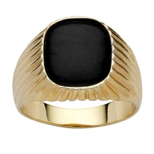 Men's Genuine Black Onyx 14k Yellow Gold-Plated Ribbed Ring Size 11
