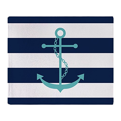 CafePress Teal Anchor On Blue Stripes Soft Fleece Throw Blanket, 50
