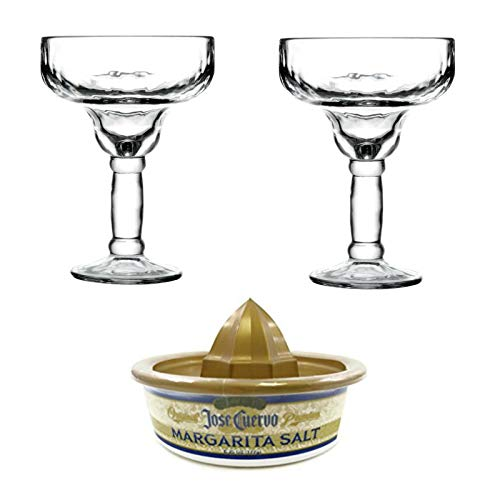Margarita Glasses Yucatan 13.5 oz Beautiful Thick Glass for Blended Margaritas and On the Rocks! (2, Clear) with Margarita Salt ()