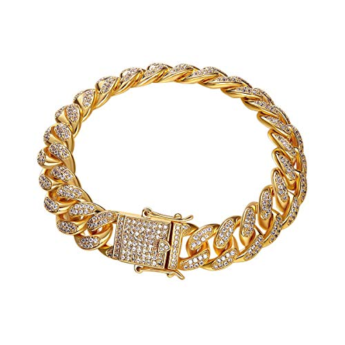 Aijian 12mm 18k Gold Plated All ICED Out Simulated Diamond Miami Cuban Chain Bracelet 8