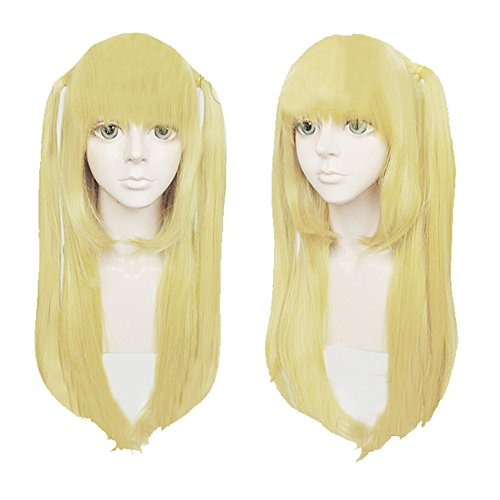 Xcoser Death Note Misa Amane Cosplay Anime Long Straight Golden Yellow Costume Wig (Death Note Cosplay Costumes)