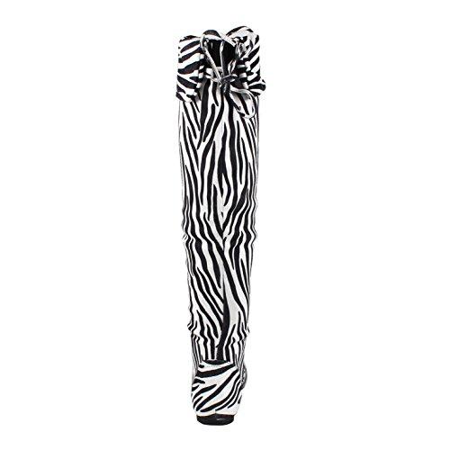 West Blvd Womens Bangkok Oberschenkel hoch über dem Knie flach Faux Wildleder Stiefel Zebra Su