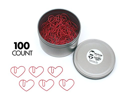 Heart Shaped Clip (Butler in the Home Love Heart Shaped Paper Clips Great For Paper Clip Collectors or Office Gift - Comes in Round Tin with Lid and Gift Box (100 Count Red))