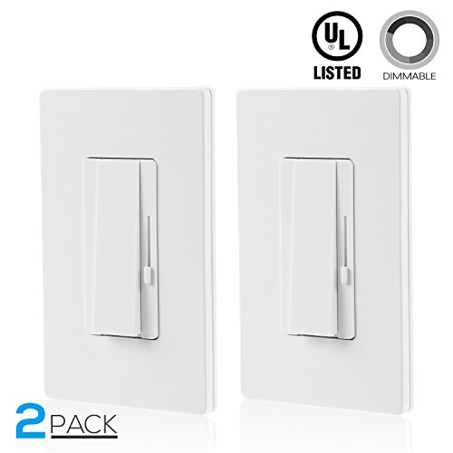 2 PACK 3-Way/Single Pole Dimmer Switch, Suit for 150W LED/CFL 600W Incandescent/Halogen, Both Single Pole/3-Way Applications Available, Wall Plate Included