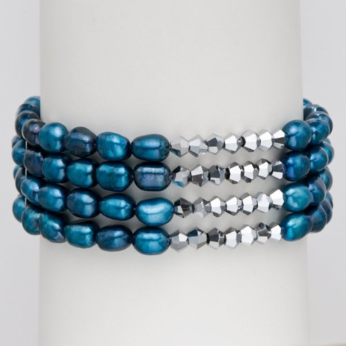 Blue Baroque Cultured Pearl Stretch 4 Row Bracelet, 7.5