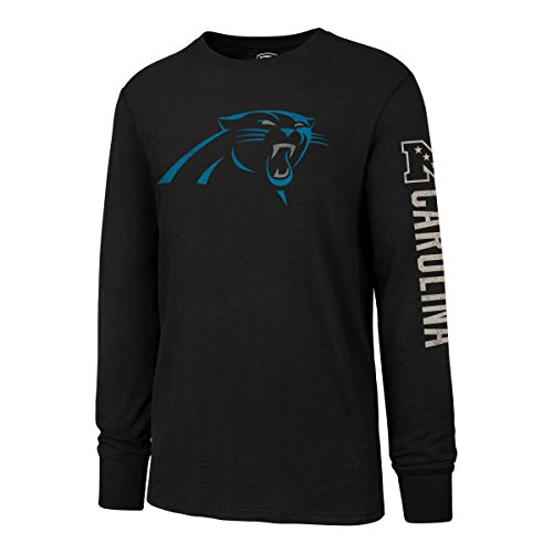 NFL Carolina Panthers Men's OTS Slub Long Sleeve Team Name Distressed Tee, Jet Black, Large ()