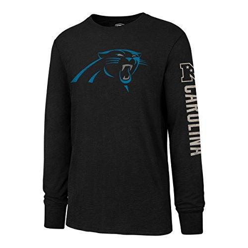 NFL Carolina Panthers Men's OTS Slub Long Sleeve Team Name Distressed Tee, Jet Black, Medium