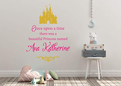Once Upon A Time There Was A Beautiful Princess Named Personalized Custom Name Wall Decal Sticker Customized Sign Monogram Stencil Baby Girl Nursery Room Decor Mural Art Gift Castle Fairytale