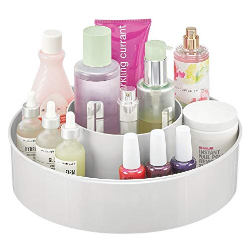 mDesign Plastic Spinning Lazy Susan Round Turntable Storage Tray - Rotating Organizer for Makeup, Cosmetics, Nail Polish, Vitamins, Shaving Kits, Hair Spray, Medical Supplies, First Aid - Light Gray