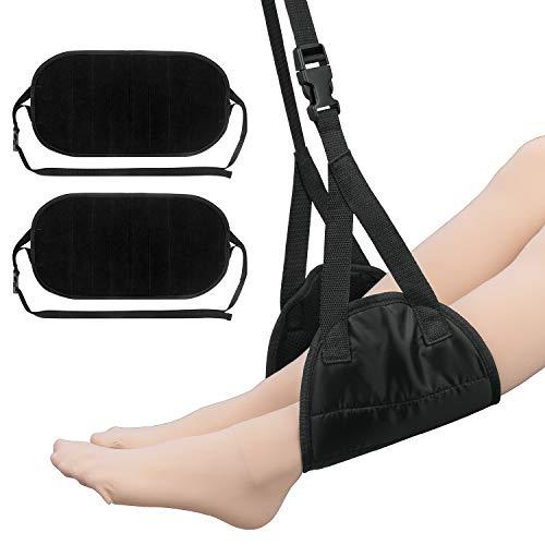 2Pack Foot Rest Airplane Travel Footrests Hammock, Under Desk Footrest for Office (Black) (Best Travel Gadgets For Long Flights)