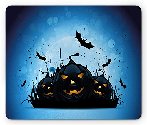 Halloween Mouse Pad, Scary Pumpkins in Grass with Bats Full Moon Traditional Composition, Standard Size Rectangle Non-Slip Rubber Mousepad, Black Yellow Sky Blue,9.8 x 11.8 x 0.118 Inches