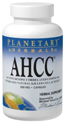 Planetary Herbals AHCC Active Hexose Correlated Compound 500mg, Increases Natural Killer Cell Activity,60 Capsules by Planetary Herbals