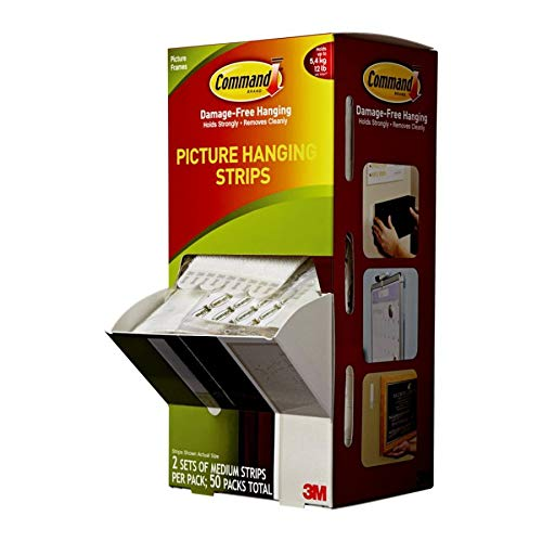 3M Command Picture Hanging Strips, 5/8 x 2-3/4 Inches, White, 50/Carton (MMM17201CABPK)