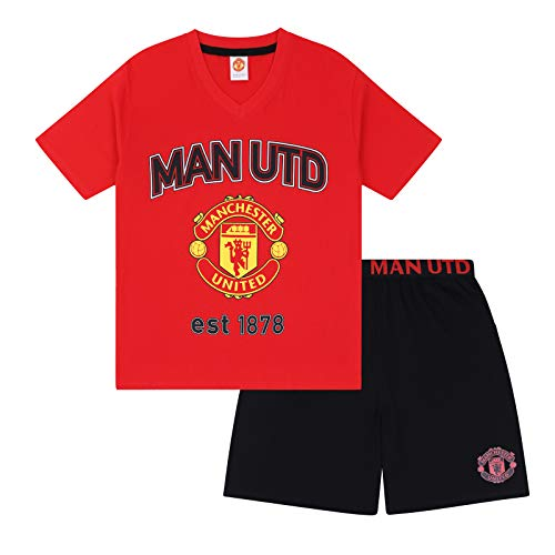 Manchester United FC Official Soccer Gift Mens Loungewear Short Pajamas ()