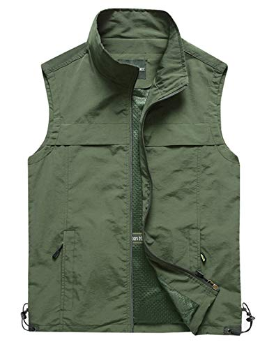 Military Outerwear - Gihuo Men's Lightweight Quick Dry Outdoor Multi Pockets Fishing Vest (Large, Style3-Army Green)
