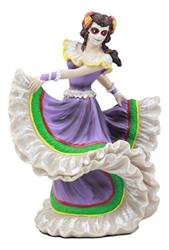 Ebros Dia De Los Muertos Day of The Dead Traditional Purple Gown Dancer Statue Sugar Skull Vivas Calacas Figurine -