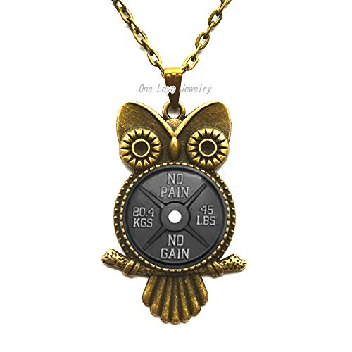 Ni36uo0qitian0ozaap Barbell Owl Necklaces,NO Pain no gain Owl Necklaces,Bodybuilding Motivator Owl Necklaces,Gift for him,Art Gifts,Modern Accessories Owl Necklaces,TAP096 Art Moderne Chain Necklace