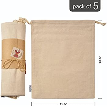 Cotton Muslin Organic Produce Storage Bag with Drawstrings; Large 11.5x13.5  Inch 5 Pack, Multipurpose Reusable Gift-Bags Great for Grocery Shopping and Household Organizing, Washable Canvas w/ String