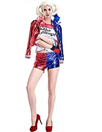 Harley Quinn Jacket T Shirt-Women-Girls-Carnival-Halloween-Cosplay-Suicide Squad-Movie Idea Gift