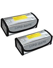 Fireproof Lipo Safe Bag DGQ 2 Pcs Lipo Battery Guard Safe Bag Fire Resistant Safe Guard Storage Pouch Sack 185x75x60mm