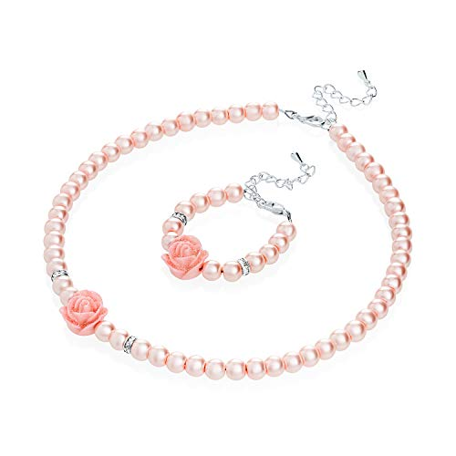Crystal Dream Flower Girl Pink Simulated Pearls Flower Necklace with Bracelet Toddler Gift Set (GSTNB2-P_M) ...