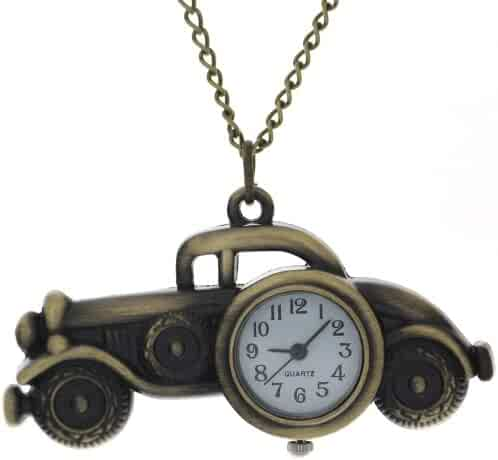 FobTime Vintage Car Pattern Bronze Classic Car Case Quartz Fob Watch A great gift for children