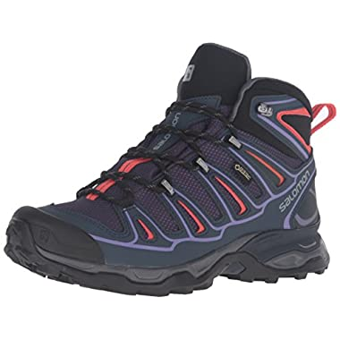 Salomon Women's X Ultra Mid 2 GTX W hiking Boot, Nightshade Grey/Deep Blue/Coral Punch, 9.5 D US