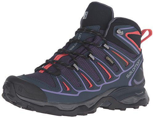Salomon Women's X Ultra Mid 2 GTX W Hiking Boot, Nightshade Grey/Deep Blue/Coral Punch, 7.5 B(M) US by Salomon