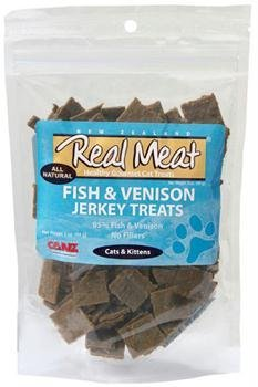 THE REAL MEAT COMPANY 828105 Cat Jerky Fish/Venison Treat, 3-Ounce (Cat Jerky Venison Treats)