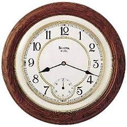 Bulova William 14 Round Oak Wall Clock