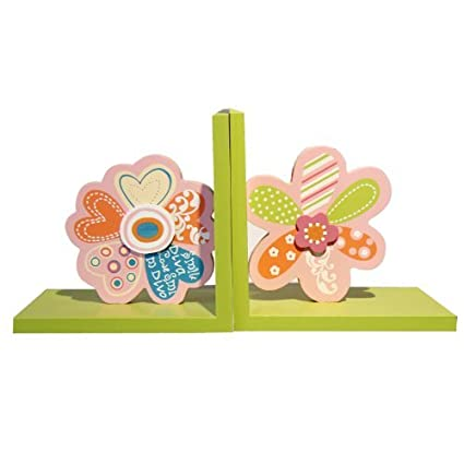 Back-to-School Sale! Adeco Set of 2 Decorative Child's Wood Bookends, Multi-Colored Flowers, Kid Bedroom, Bookshelf, Storybook