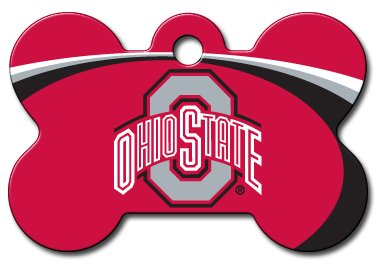 Personalized Laser Engraved 1.5 x 1 inch Ohio State Buckeyes Bone Shape Pet ID Tag- Free Tag Silencer