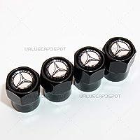 Black UATUO Universal Hexagon Shape for Mercedes Logo Emblem Wheel Tire Air Valve Cap Stem Dust Cover