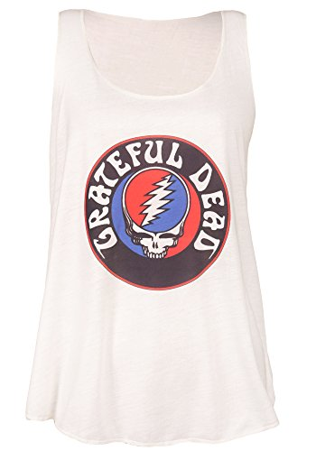 1970s Top - Sidecca Women's Grateful Dead Steal Your Face Skull Logo Racerback Graphic Tank Top (Small, Ivory)