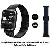 Relógio Smartwatch P68 P70 Original Rose Brinde Pulseira de Aço