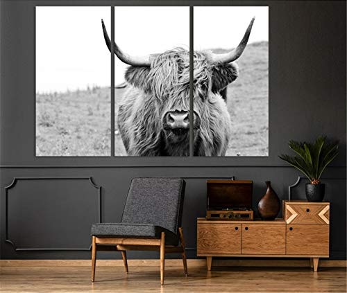 DOLUDO Wall Art 3 Pieces Large Painting Canvas Print Cow Kitchen Black White Posters Art Canvas Gift Home Decoration Framed Picture for Living Room and Home Decor Artwork Ready to Hang