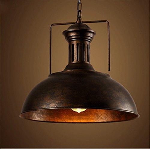 Leihongthebox Industrial Vintage Pendant Light Retro Ceiling Lighting Metal Loft Bar Chandelier Restaurant Base Sepia loft single head iron chandeliers ,410MM,RUST lid lunch ()