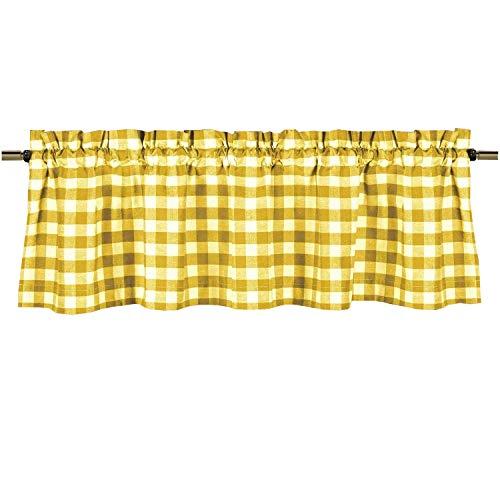 lovemyfabric Poly Cotton Gingham Checkered Plaid Design Kitchen Curtain Valance Window Treatment-Yellow