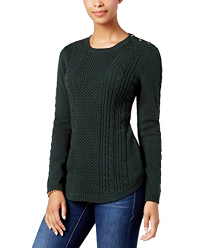 Charter Club Cable-Knit Button-Detail Sweater (Dark Evergreen, ()