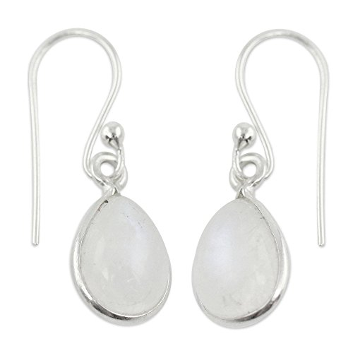 (NOVICA Rainbow Moonstone .925 Sterling Silver Teardrop Dangle Earrings 'Hypnotic Minimalism')