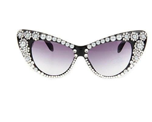 Wiipu Vintage Retro 60's Cat Eye Bling Rhinestone Pearl Flower - Bling Cat Sunglasses Eye