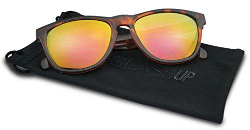 Retro Square Horn Rimmed Keyhole Bridge Round Wayfarer Style SunGlasses Mirrored (Tortoise / Fire Red Lens, - Tortoise Red Rimmed