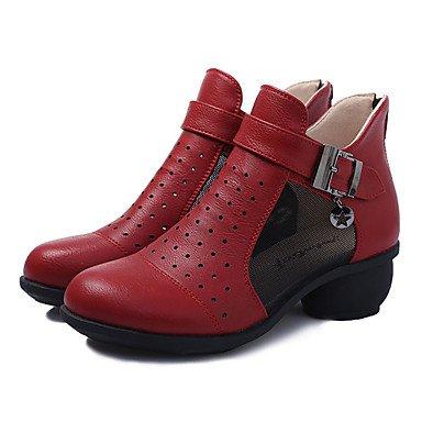 Wuyulunbi@ La mujer botas de baile profesional de zapatillas de arranque real bajo el talón en blanco negro rojo,rojo,us9 / Ue40 / UK7 / CN41 Rojo