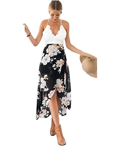 Blooming Jelly Women's Deep V Neck Sleeveless Summer Asymmetrical Wrap Floral Lac Chiffon Maxi ()