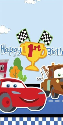 Disney Cars Birthday Party Invitations - Disney 1st Birthday Cars Plastic Tablecover Party Accessory