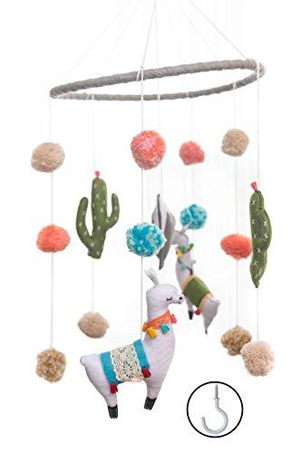 Baby Crib Mobile by Joey Co. | Felt Llama Mobile | Felt Baby Crib Mobile Baby Decor | Simple, Minimalist, Fun Baby Nursery and Baby Crib Decoration (Wood Cloud Ceiling)