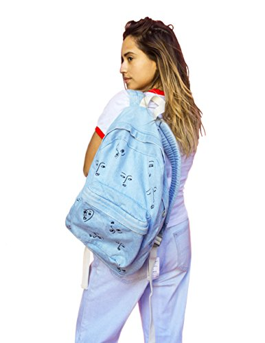The Style Club - Faces of Love Denim Backpack by CLUB STYLE